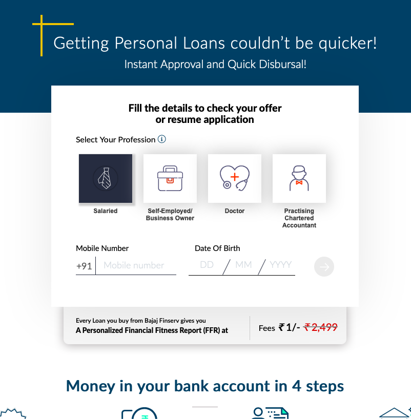 Fintech landing page example
